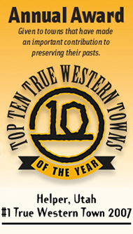 Helper, Utah - Top Ten True Western Town Award
